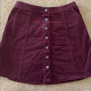 Abercrombie button up corduroy skirt